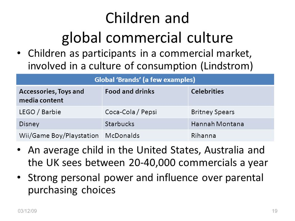 Children and global commercial culture