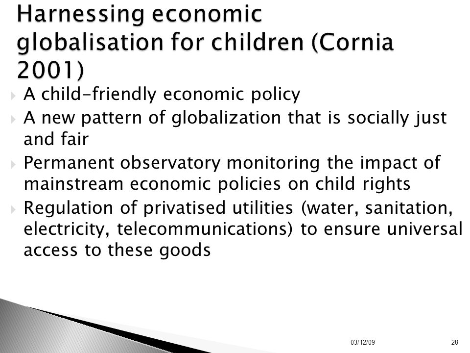 Harnessing economic globalisation for children (Cornia 2001)