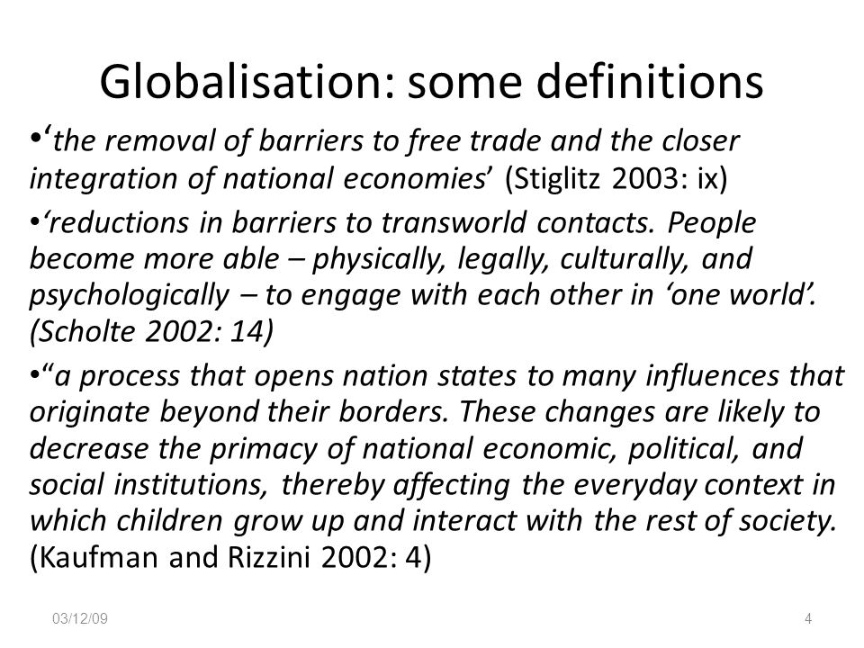 Globalisation: some definitions