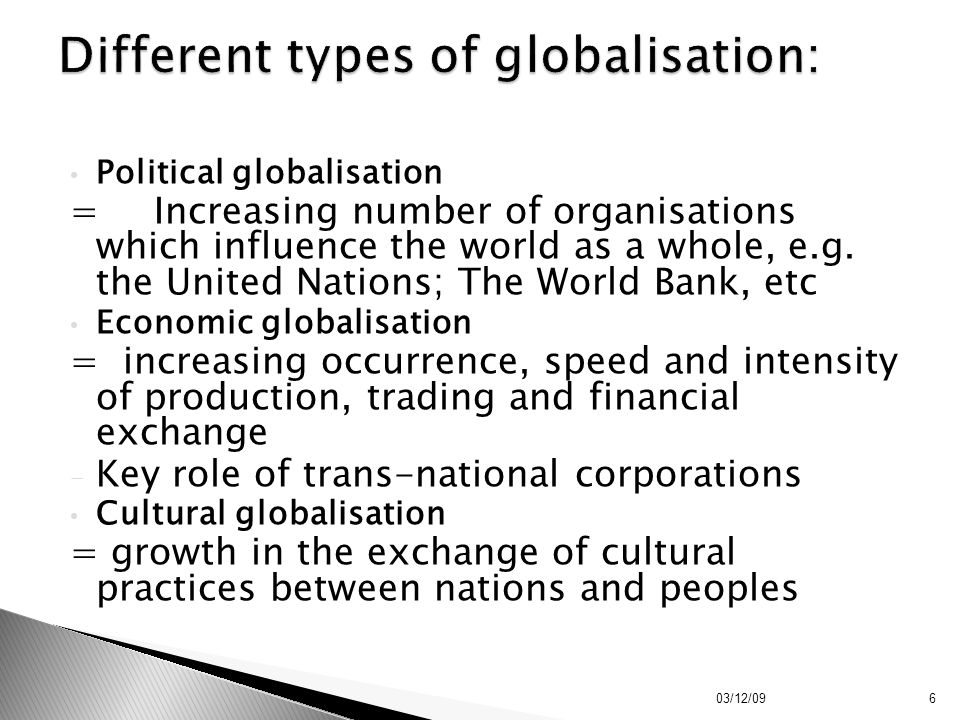 Different types of globalisation: