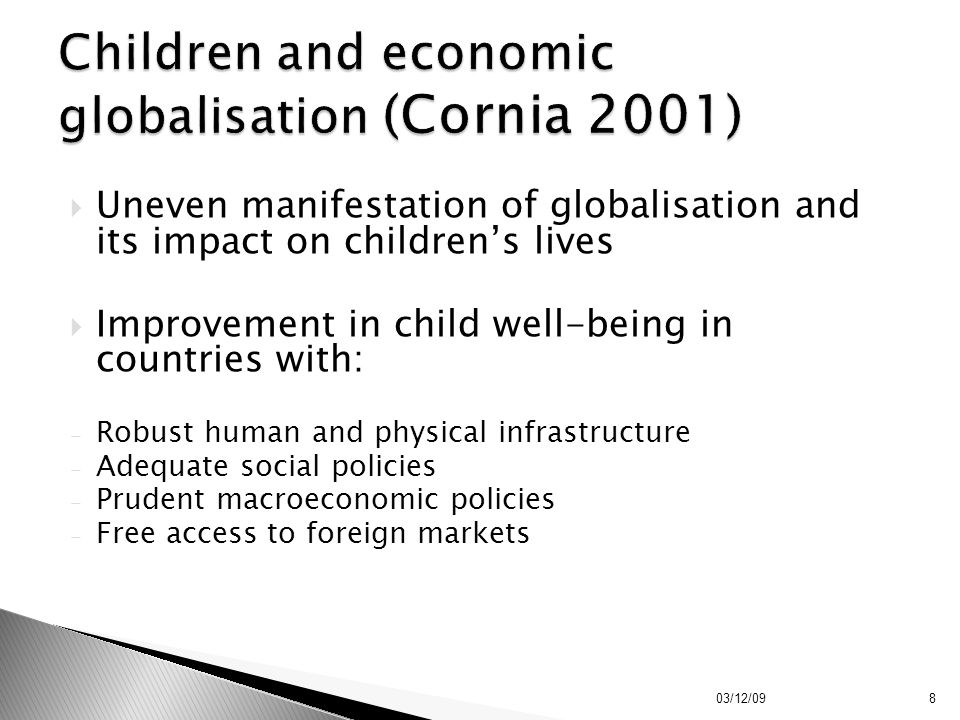 Children and economic globalisation (Cornia 2001)