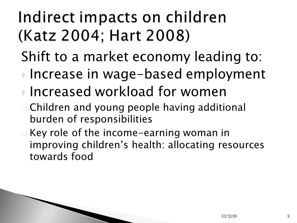 Indirect impacts on children (Katz 2004; Hart 2008)