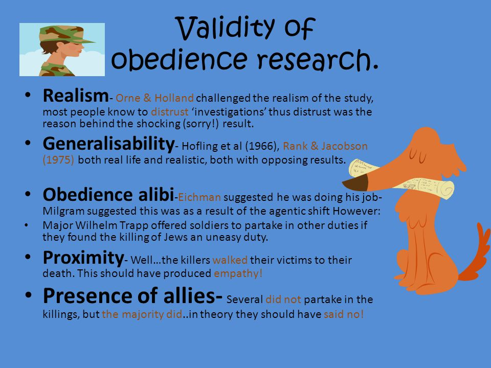 Validity of obedience research.
