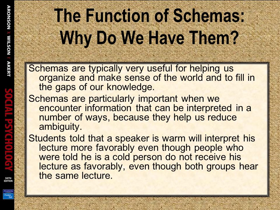 The Function of Schemas: Why Do We Have Them