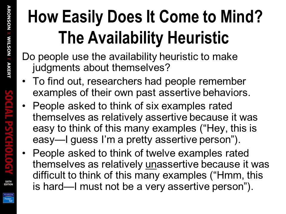 How Easily Does It Come to Mind The Availability Heuristic