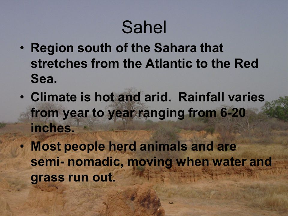 Sahel Region south of the Sahara that stretches from the Atlantic to the Red Sea.