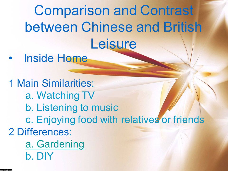 Comparison and Contrast between Chinese and British Leisure