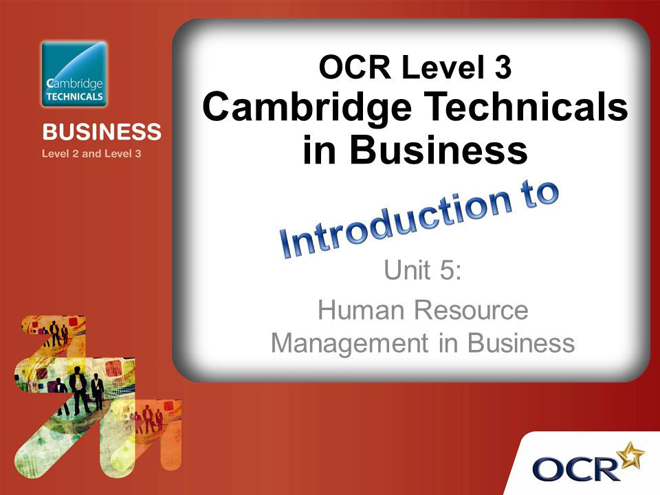 OCR Level 3 Cambridge Technicals in Business