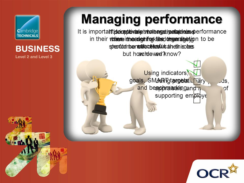 Managing performance It is important to actively manage people's performance in their roles in order for the organisation to be successful.