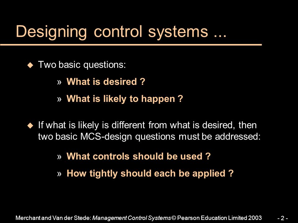 Designing control systems ...