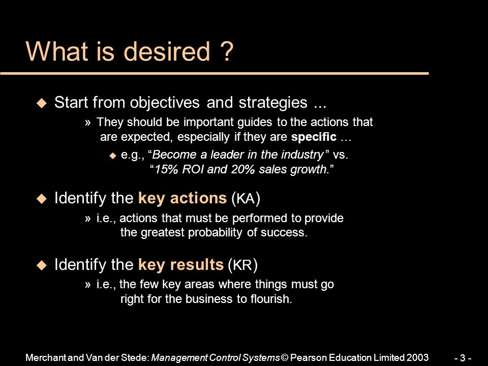 What is desired Start from objectives and strategies ...