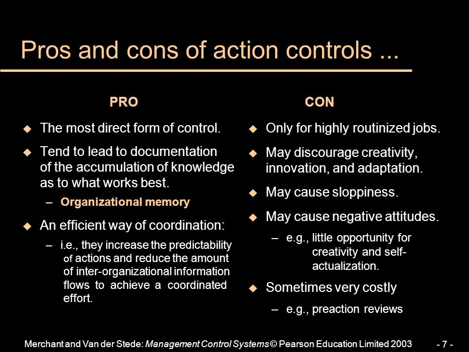 Pros and cons of action controls ...