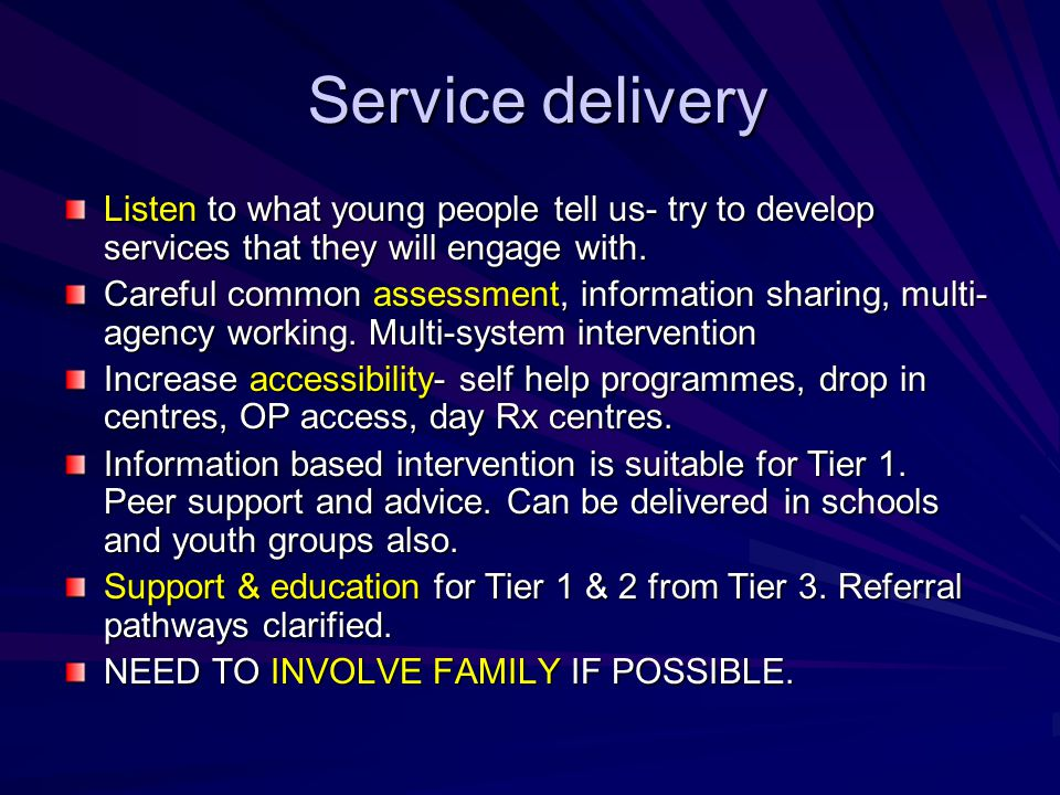 Service delivery Listen to what young people tell us- try to develop services that they will engage with.