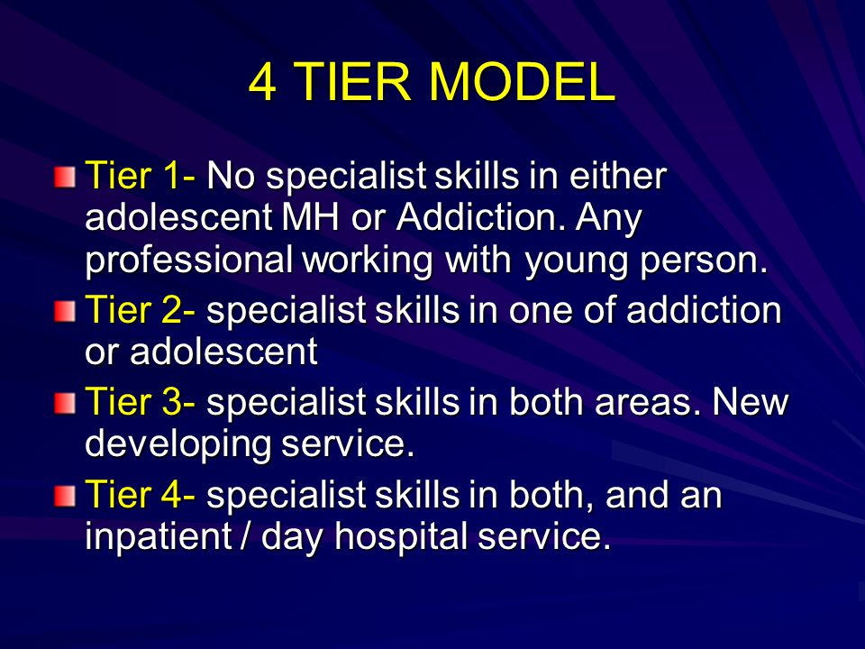 4 TIER MODEL Tier 1- No specialist skills in either adolescent MH or Addiction. Any professional working with young person.
