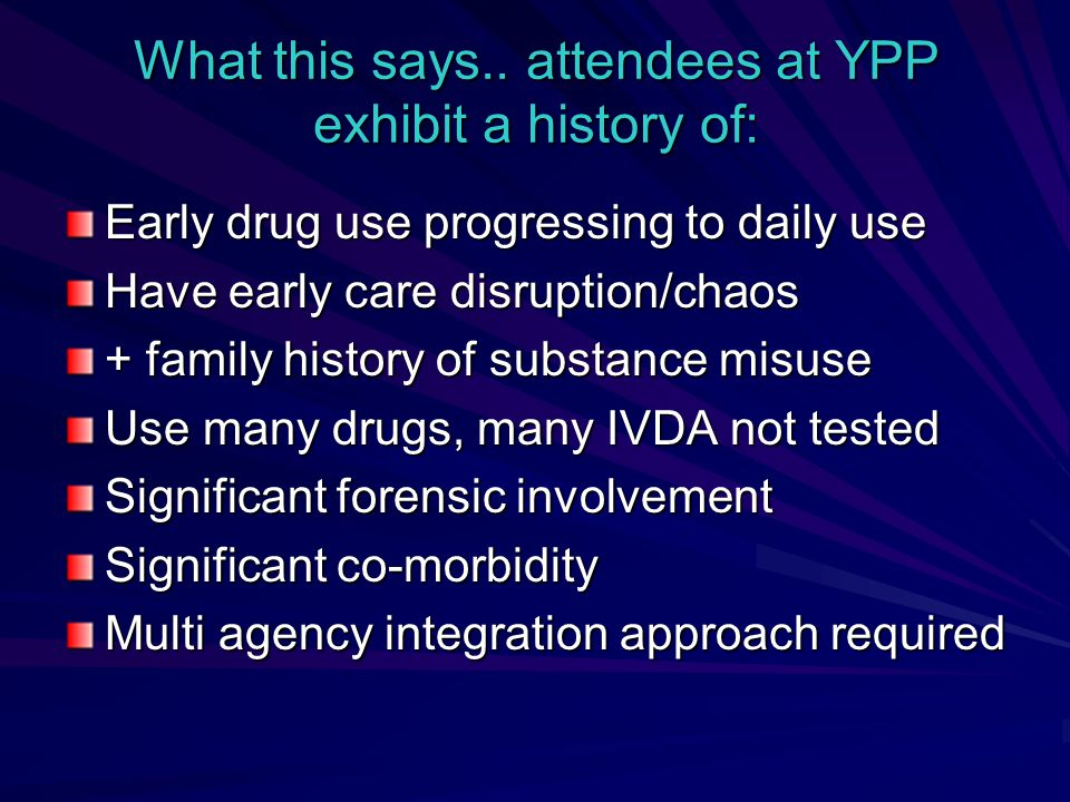 What this says.. attendees at YPP exhibit a history of: