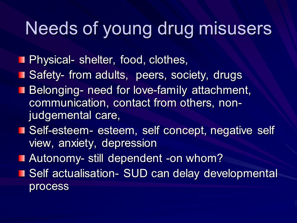 Needs of young drug misusers