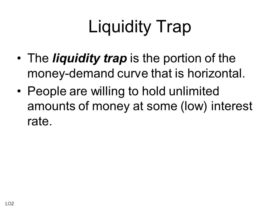 Liquidity Trap The liquidity trap is the portion of the money-demand curve that is horizontal.