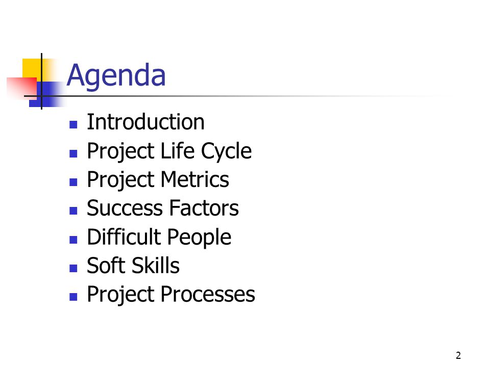 Agenda Introduction Project Life Cycle Project Metrics Success Factors