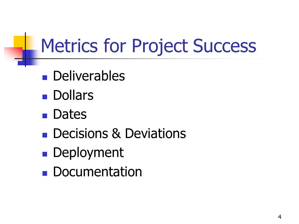 Metrics for Project Success