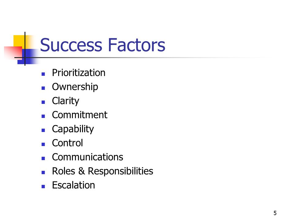 Success Factors Prioritization Ownership Clarity Commitment Capability