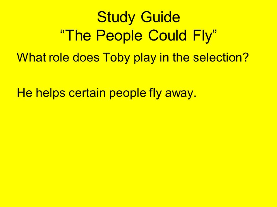 Study Guide The People Could Fly