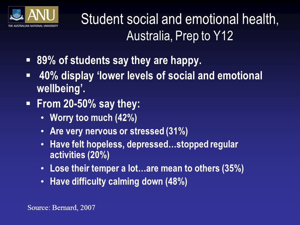 Student social and emotional health, Australia, Prep to Y12