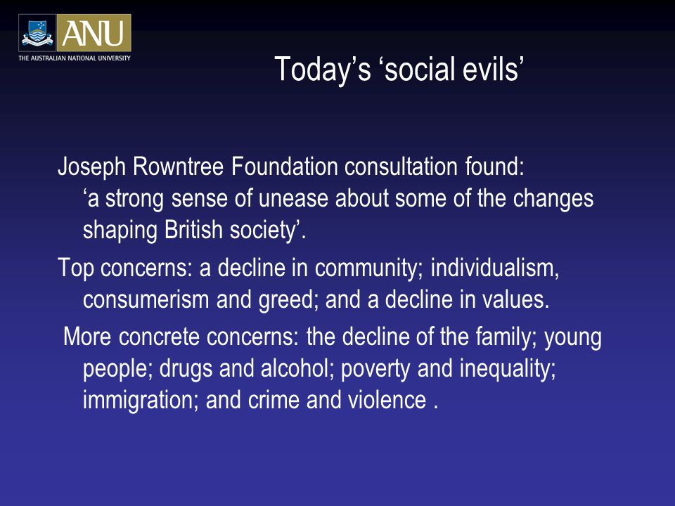 Today's 'social evils'