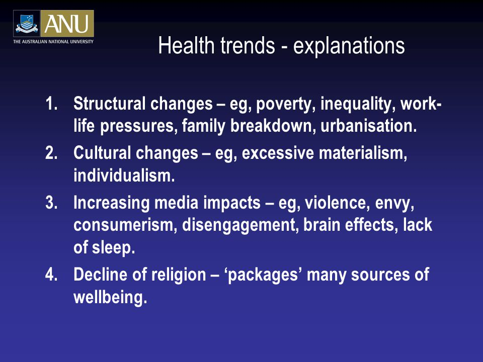 Health trends - explanations