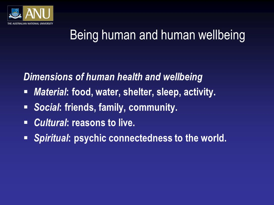 Being human and human wellbeing