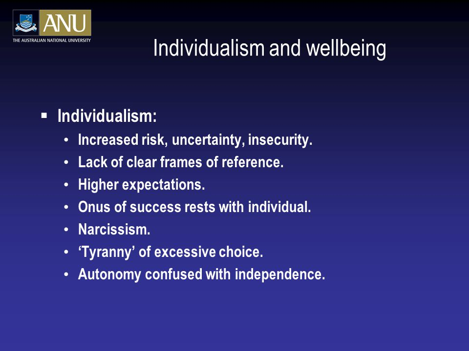 Individualism and wellbeing