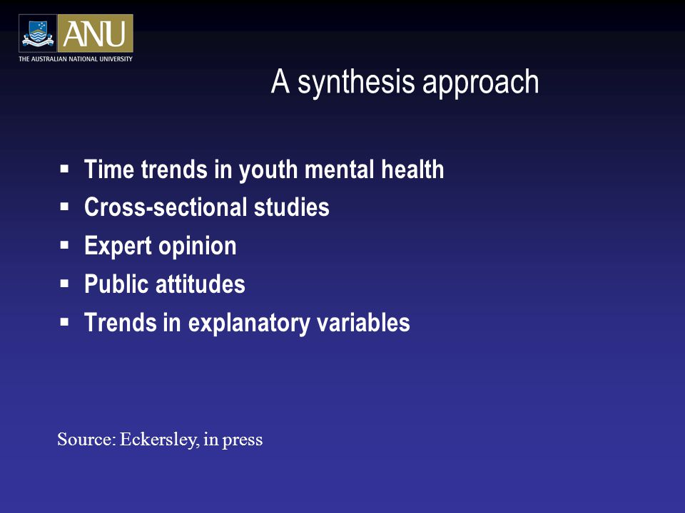 A synthesis approach Time trends in youth mental health