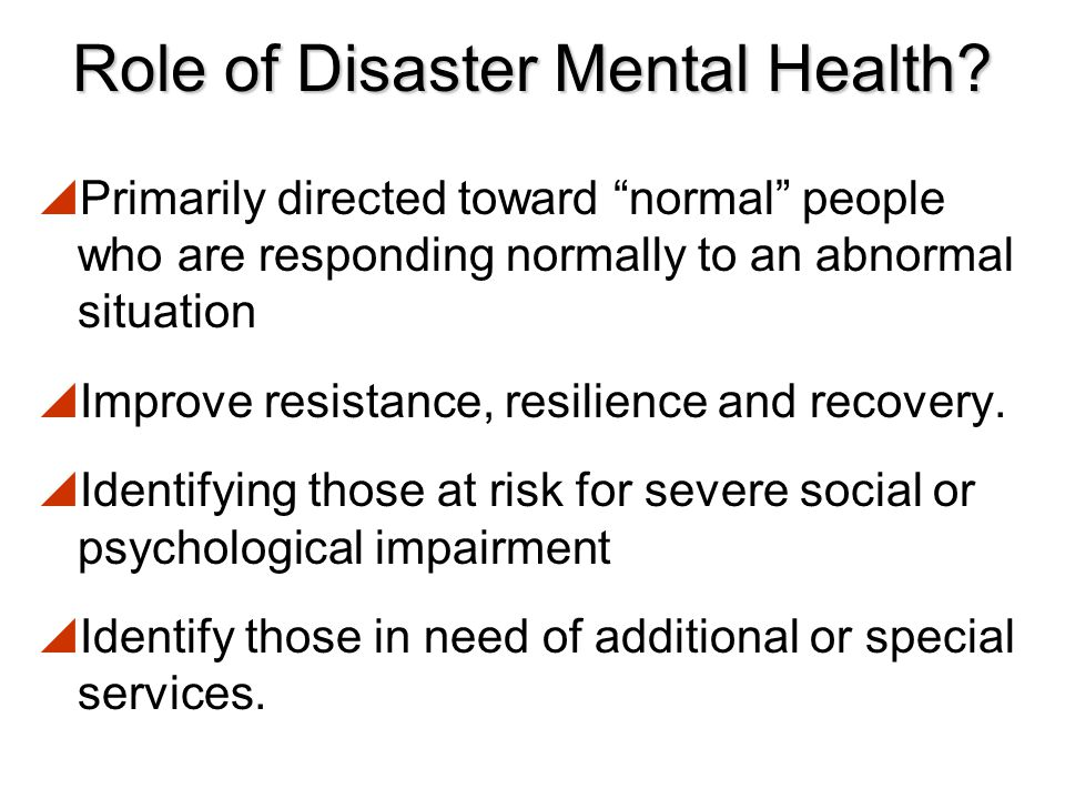 Role of Disaster Mental Health