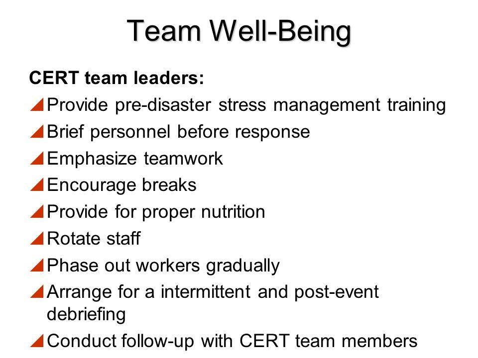 Team Well-Being CERT team leaders: