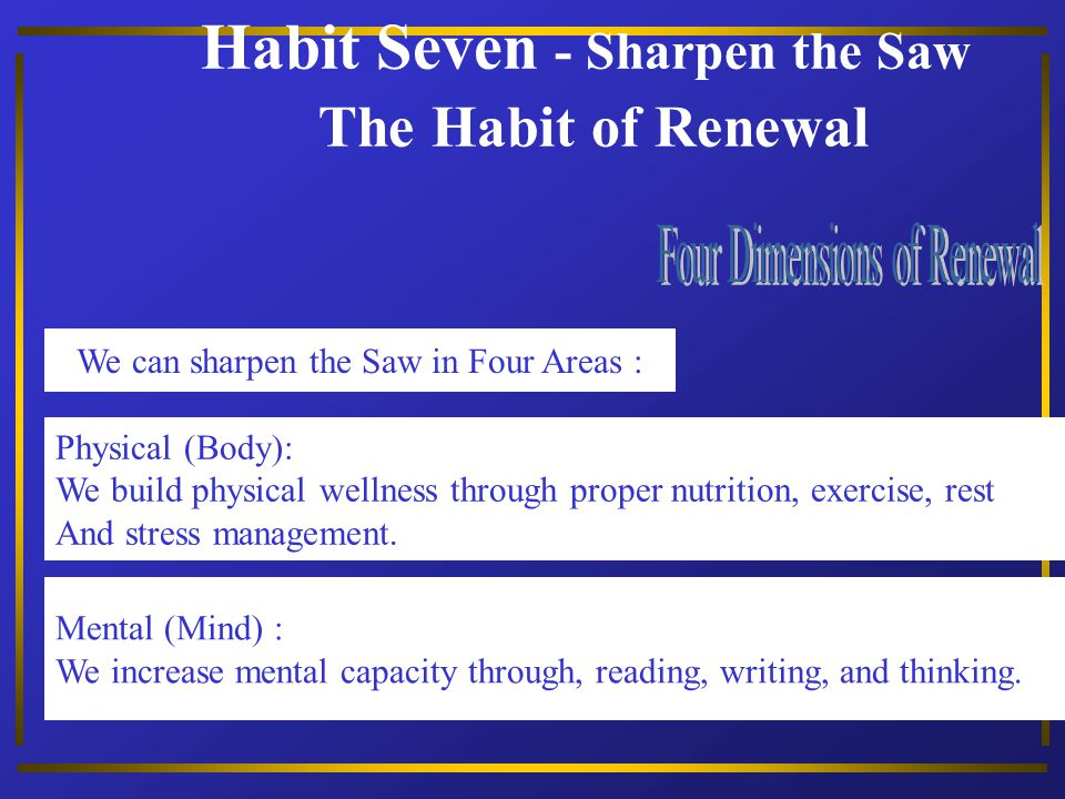 Habit Seven - Sharpen the Saw The Habit of Renewal