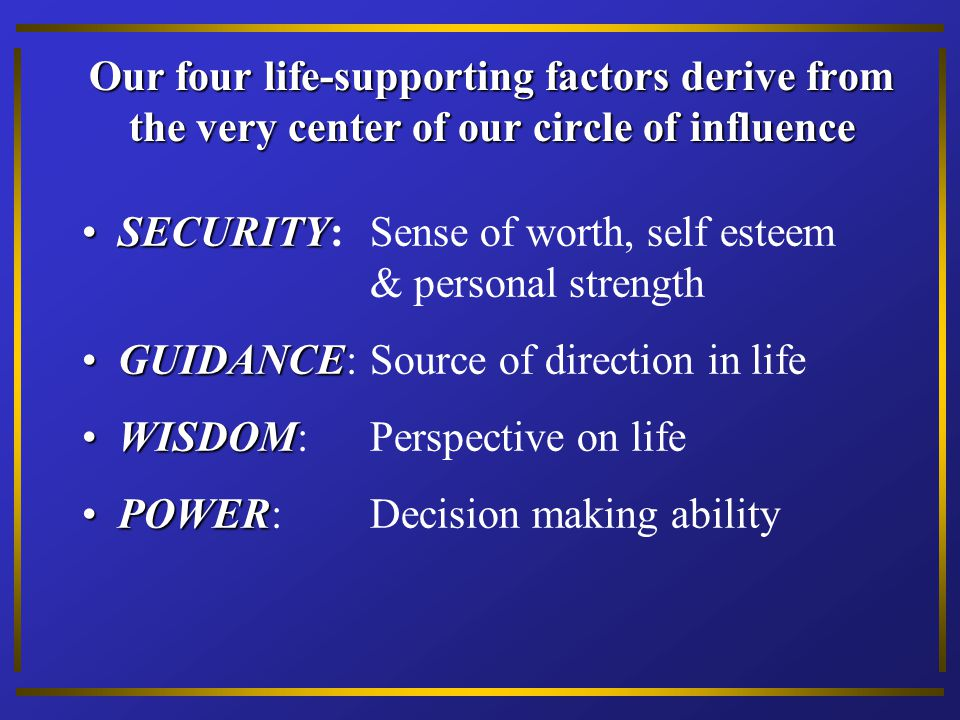 Our four life-supporting factors derive from the very center of our circle of influence