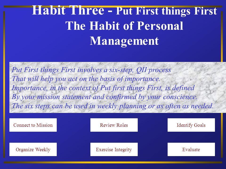 Habit Three - Put First things First The Habit of Personal Management