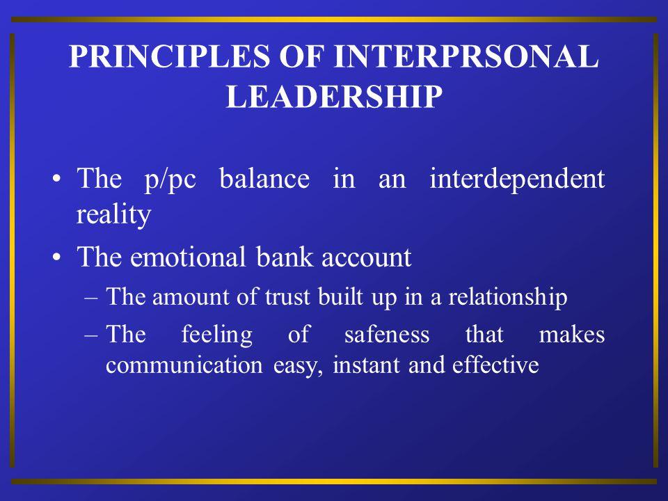 PRINCIPLES OF INTERPRSONAL LEADERSHIP