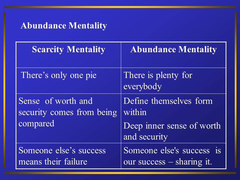 Abundance Mentality Scarcity Mentality. Abundance Mentality. There's only one pie. There is plenty for everybody.