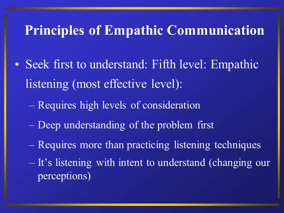 Principles of Empathic Communication