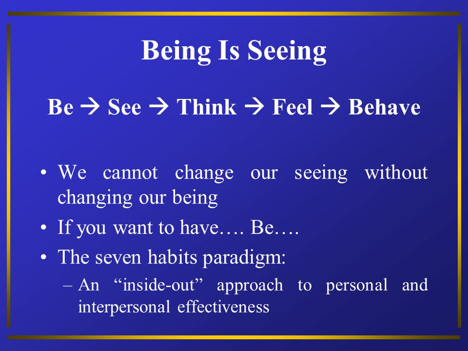 Be  See  Think  Feel  Behave