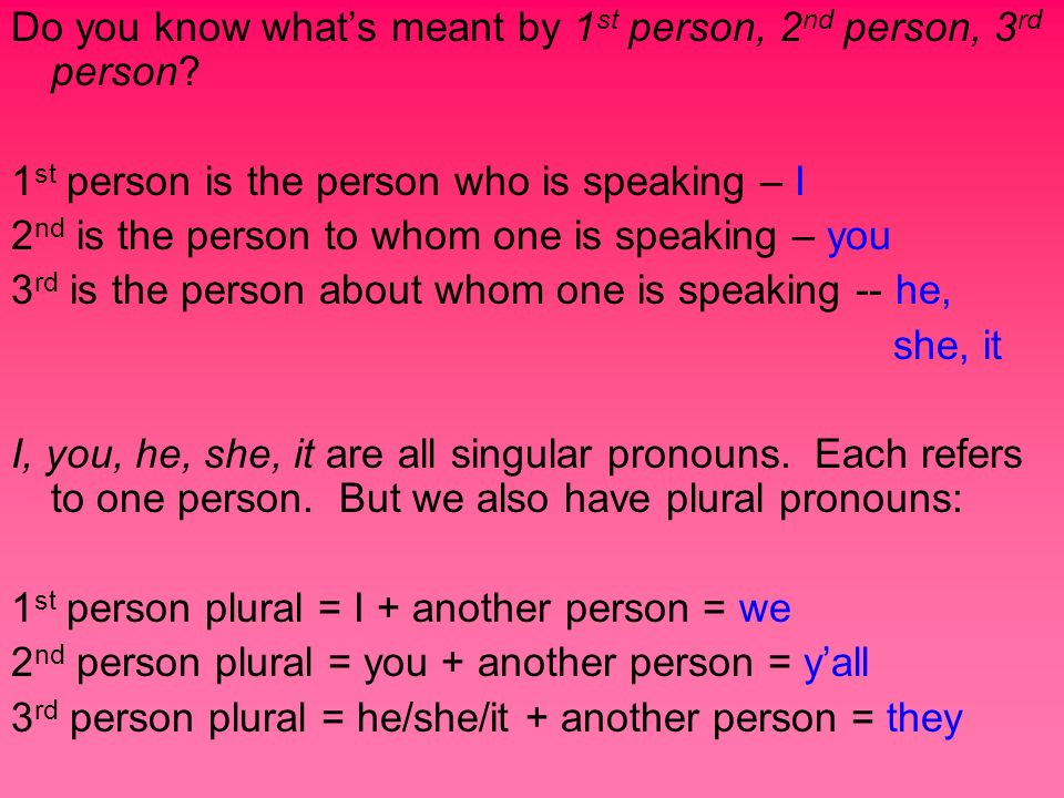 Do you know what's meant by 1st person, 2nd person, 3rd person