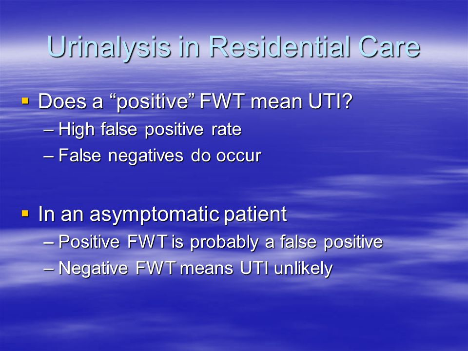 Urinalysis in Residential Care