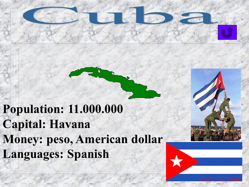 Cuba Population: 11.000.000 Capital: Havana Money: peso, American dollar Languages: Spanish