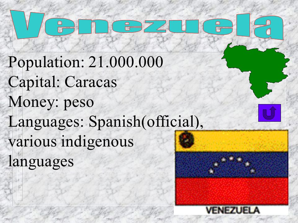 Venezuela Population: 21.000.000. Capital: Caracas. Money: peso. Languages: Spanish(official), various indigenous.