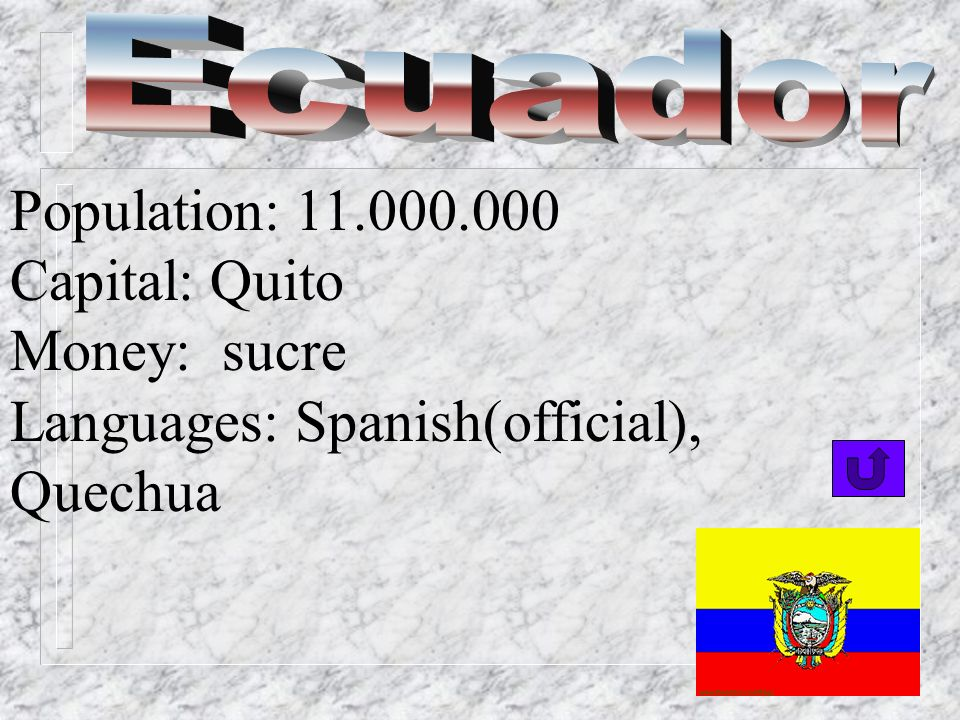 Ecuador Population: 11.000.000 Capital: Quito Money: sucre