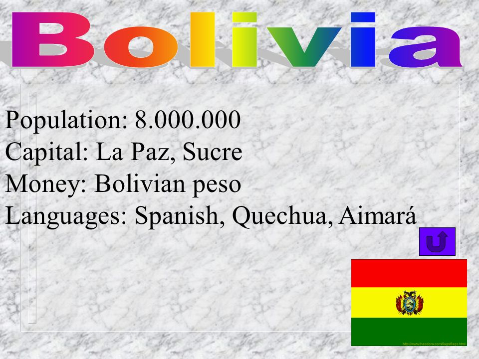 Bolivia Population: 8.000.000 Capital: La Paz, Sucre