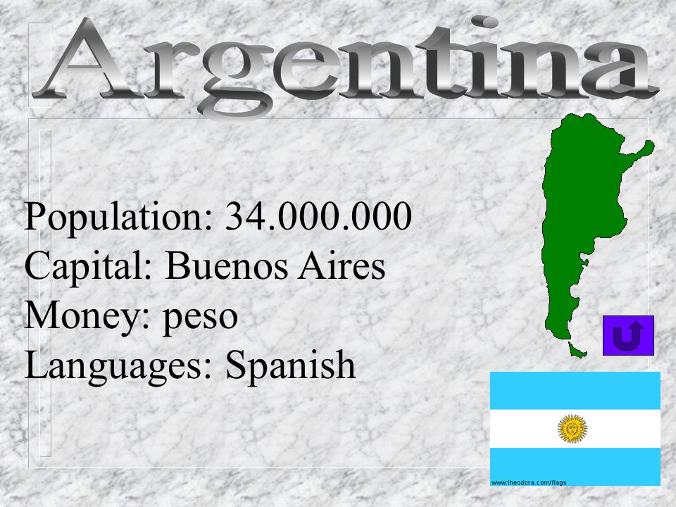 Argentina Population: 34.000.000 Capital: Buenos Aires Money: peso