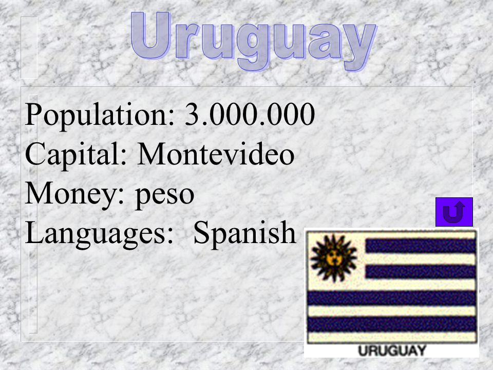 Uruguay Population: 3.000.000 Capital: Montevideo Money: peso