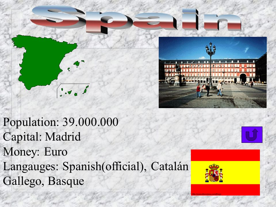 Spain Population: 39.000.000 Capital: Madrid Money: Euro
