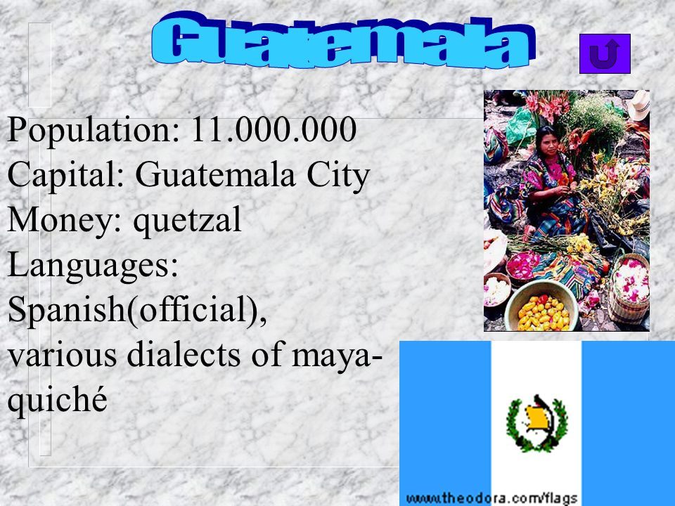 Guatemala Population: 11.000.000. Capital: Guatemala City.